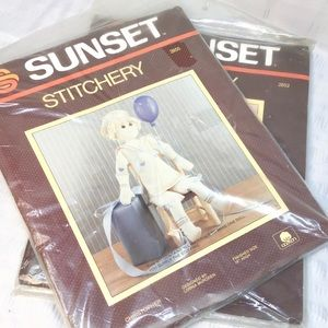 2 vintage sunset stitchery kits Christopher Grace